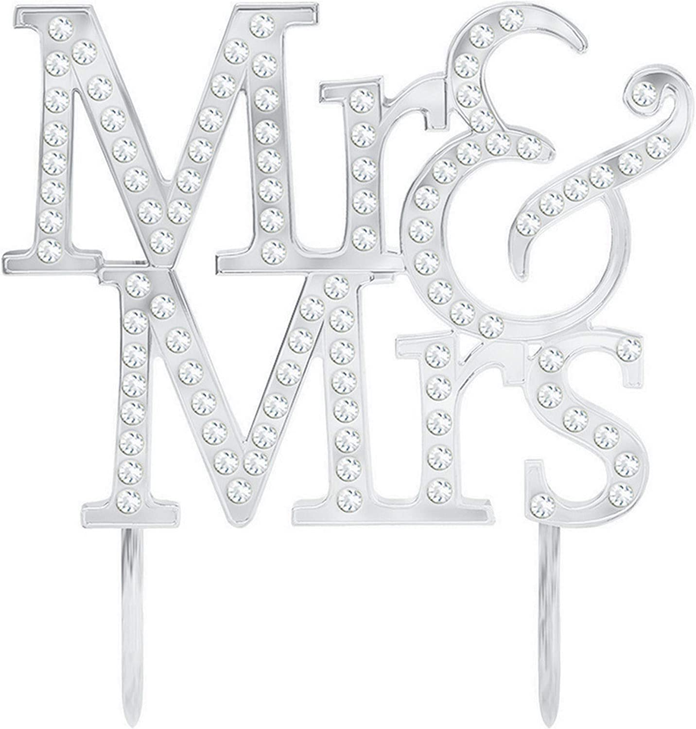 amscan 100008 Silver Mr /& Mrs Cake Topper with Diamond Details-1 Pc