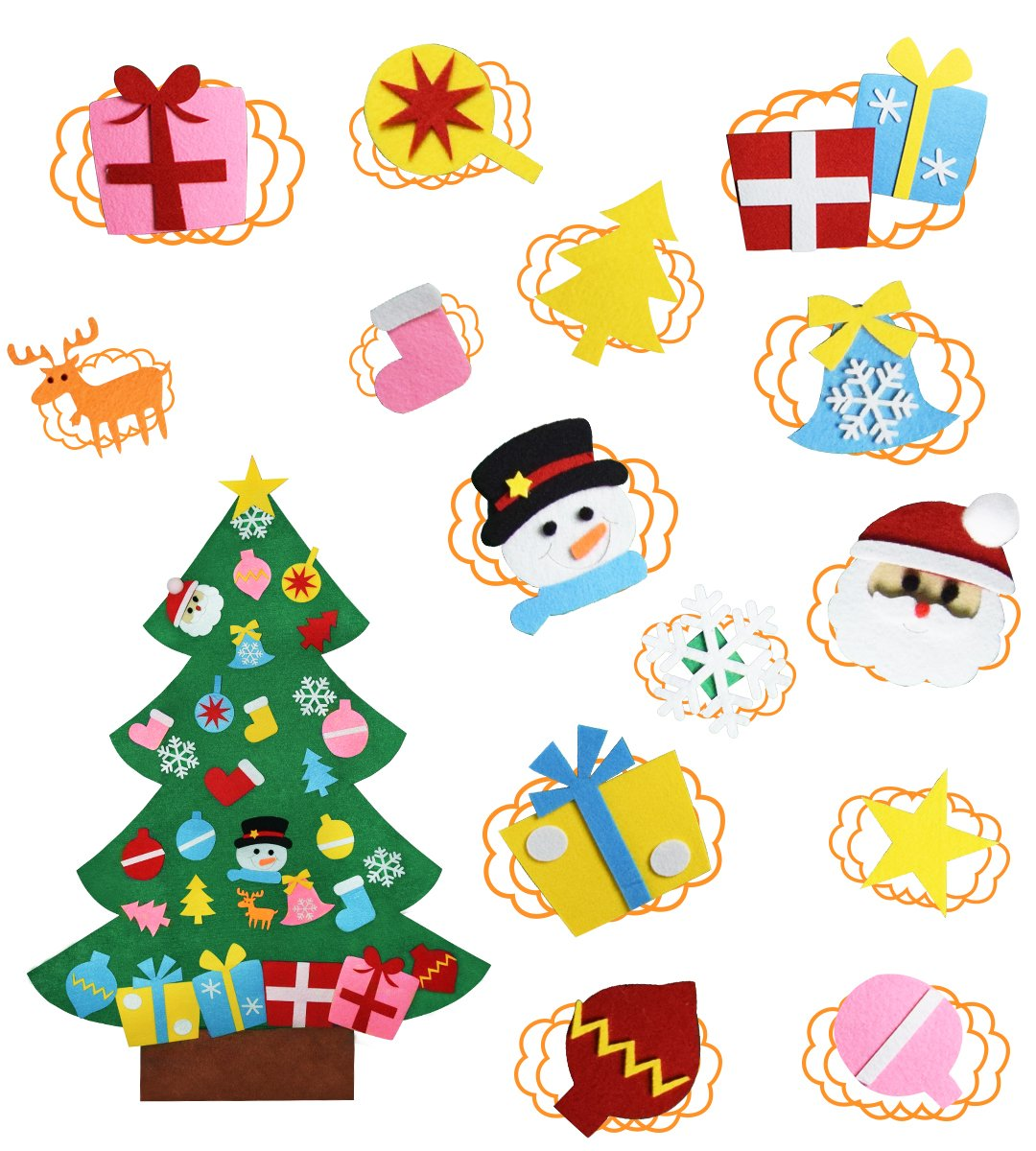 Feutre arbre de Noë l Tenture murale 3ft arbre de Noë l ensemble avec des ornements, cadeau de Noë l pour les enfants de Noë l dé corations bricolage cadeau de Noël pour les enfants de Noël décorations bricolage KEFAN