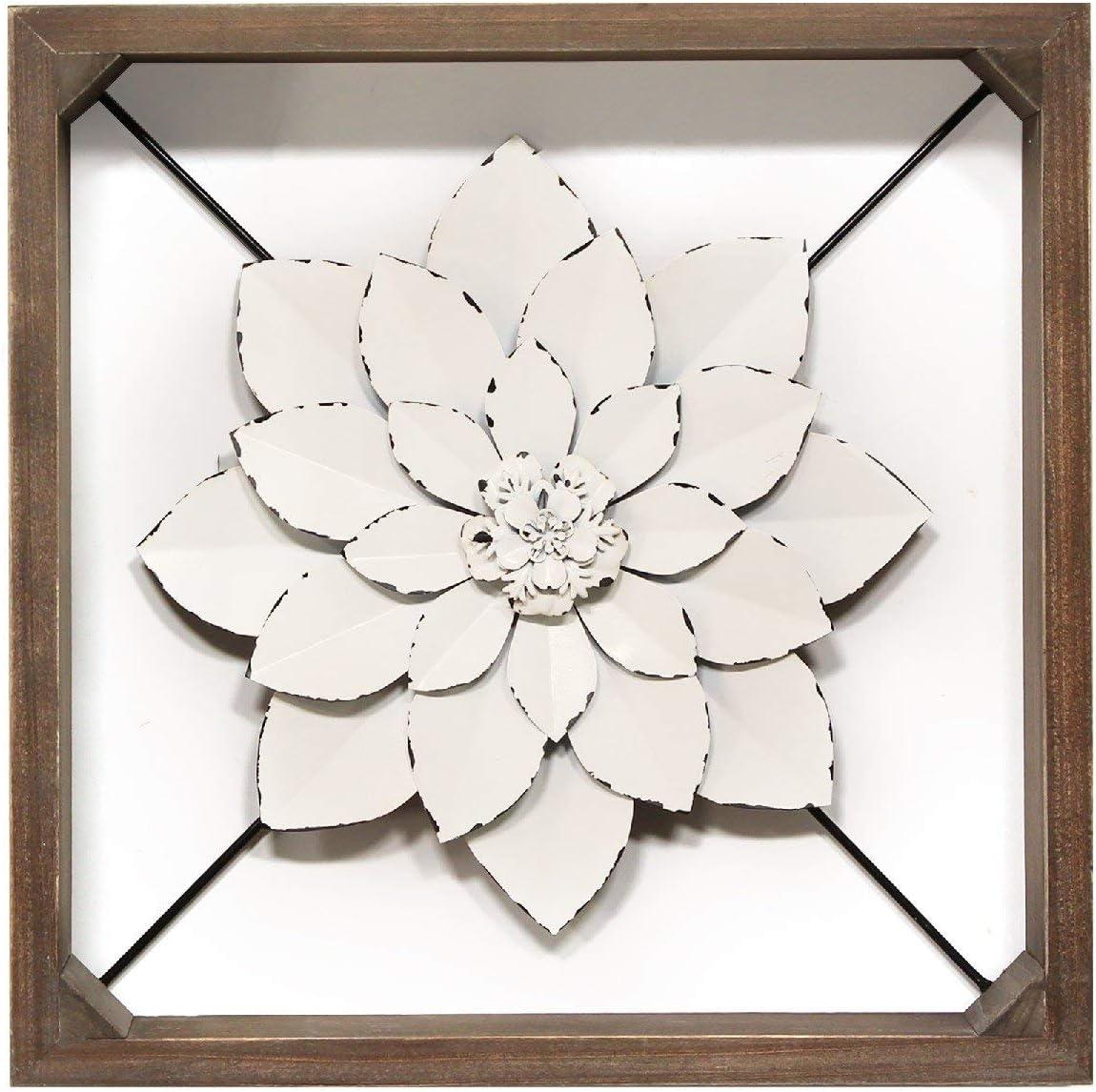 Amazon Com Stratton Home Decor Stratton Home Decor Framed Metal Flower 15 75 W X 2 75 D X 15 75 H Dark Walnut White Home Kitchen