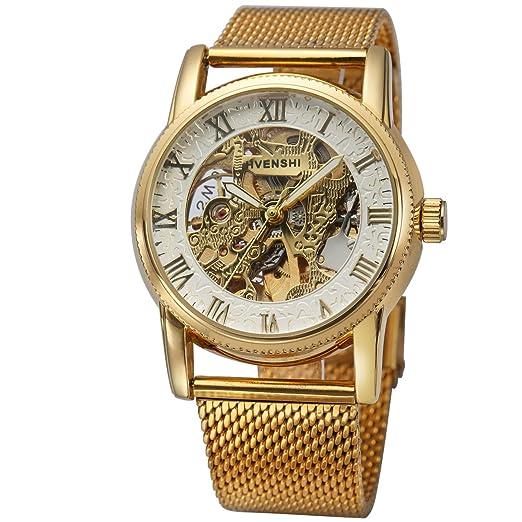 Reloj De Pulsera - Cinturones De Moda ManChDa De Acero Inoxidable Mecánico De Esqueleto De Reloj Mecanico Hombres Reloj Mujer + Caja De Regalo: Amazon.es: ...
