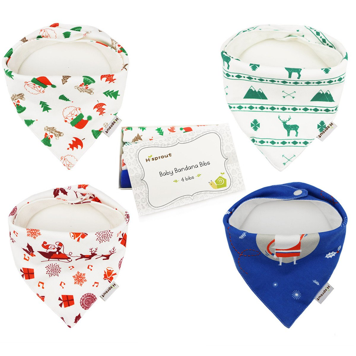 Adjustable Double Snaps Hi Sprout Baby Bandana Drool Bibs 4 Pack Christmas Gift for Girls and Boys Absorbent 100/% Cotton