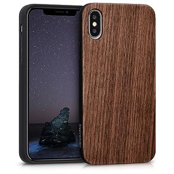 kwmobile 1x Funda de madera madera de nogal compatible con Apple iPhone X -carcasa protectora en marrón oscuro
