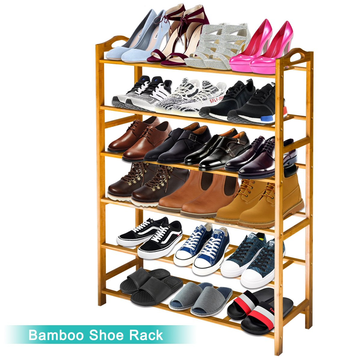 ANKO Bamboo Shoe Rack, 100% Natural Bamboo Thickened 6-Tier Mesh Utility Entryway Shoe Shelf Storage Organizer Suitable for Entryway, Closet, Living Room, Bedroom. (1 PACK) by ANKO (Image #2)