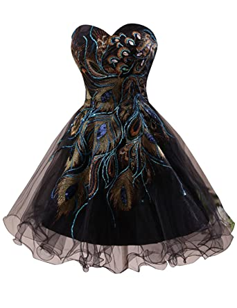 97bf3d2abce Wishopping Women s Short Peacock Cocktail Prom Gown Homecoming Dress WH26  Black Size 2