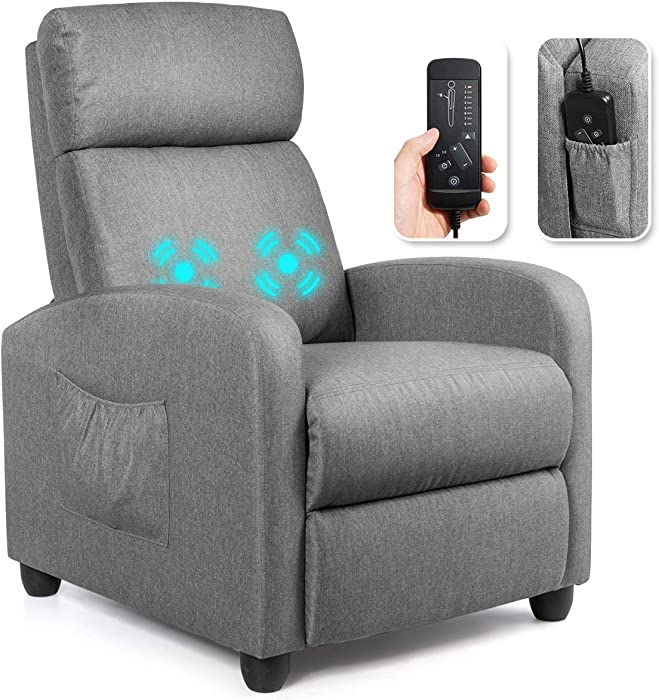 Giantex Recliner Chair for Living Room, Recliner Sofa Wingback Chair w/Massage Function, Padded Seat PU Leather Reclining Chair w/Side Pocket, Home Theater Seating Massage Recliner Easy Lounge (Grey)