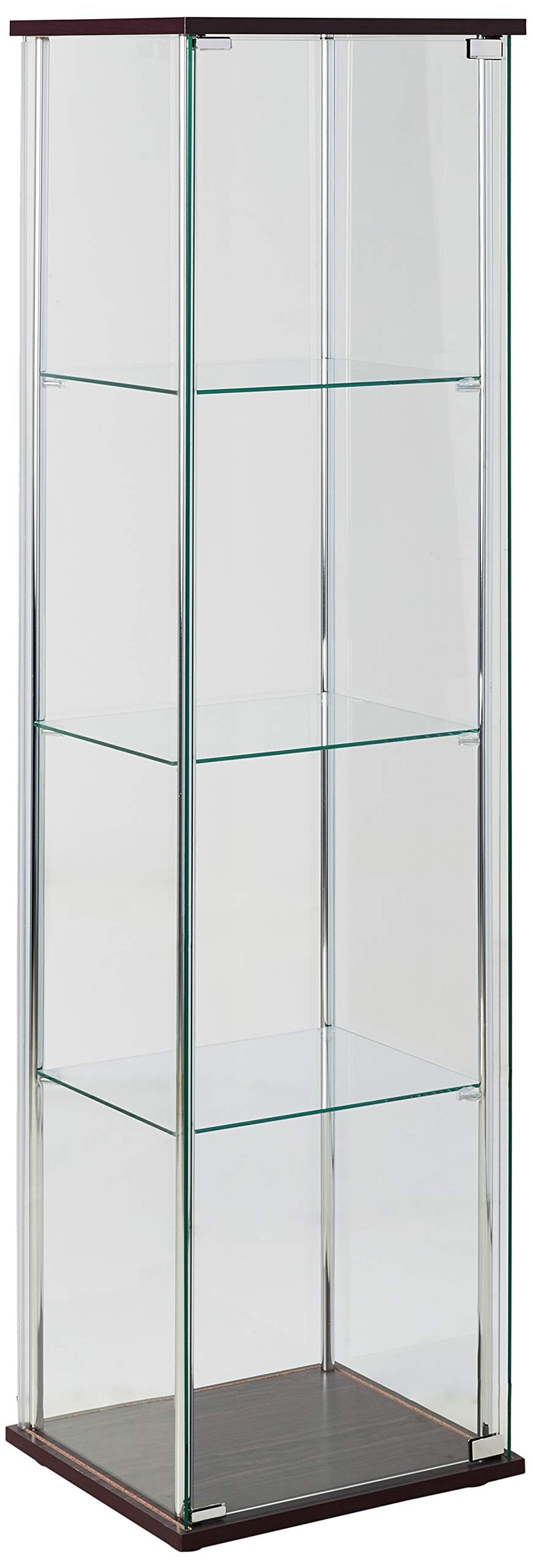 4-Shelf Glass Curio Cabinet Cappuccino and Clear by Coaster Home Furnishings