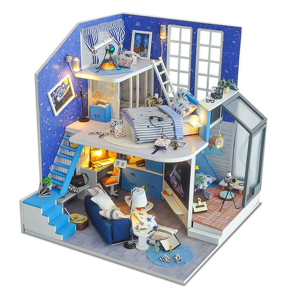 Dollhouse Miniature with Furniture Diy House Of Star Field Kreative Manuelle Montage Modellhaus Romantischer Valentinstag ist das Geburtstagsgeschenk aus Holz DIY Dollhouse Mini Handmade Kit für Mädch