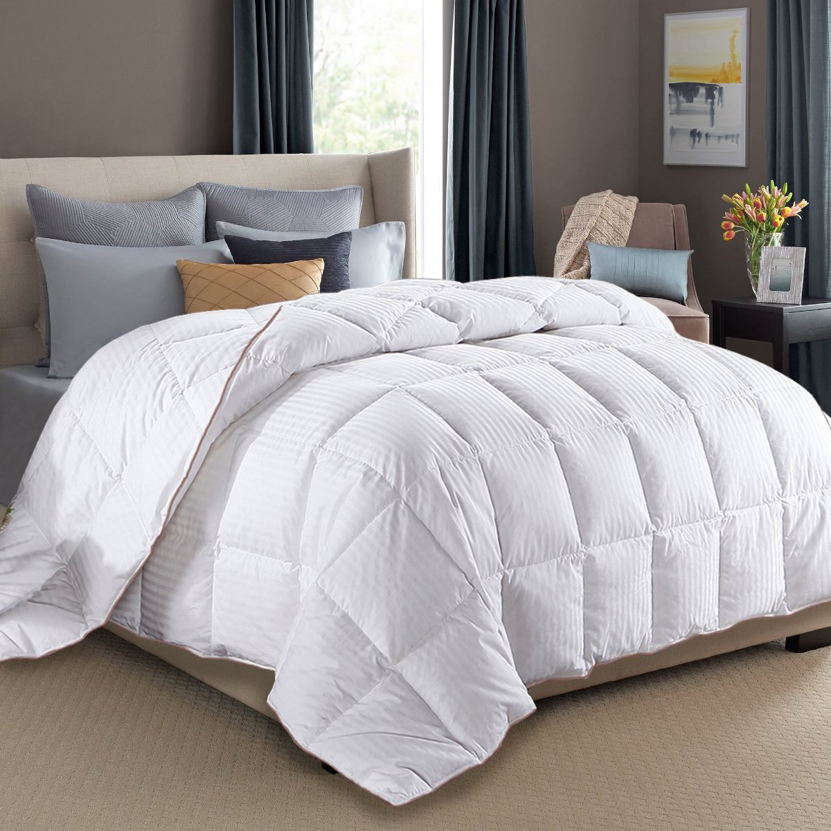 King Size Duvet Insert White Goose Down Feather Comforter 100% Cotton Cover Fluffy Bed Quilt Blanket All Season (King, White) by SNOWMAN