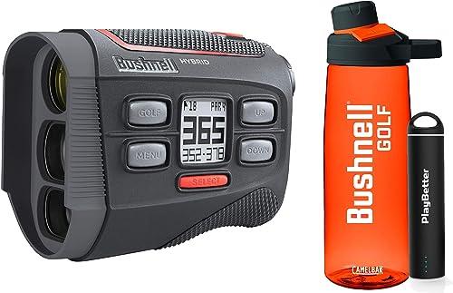 Bushnell Hybrid Golf Laser GPS Rangefinder Premium Bushnell Golf Gift Box Premium Water Bottle, Portable Charger, CR2 Battery, Pitchfix Divot Tool Towel PinSeeker w JOLT, 5X Mag 201835