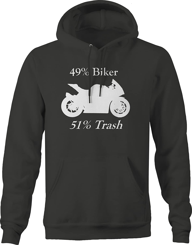 Bold Imprints Motorcycle 49/% Biker 51/% Trash Street Bike Hooded Fleece Graphic Hoodie for Men