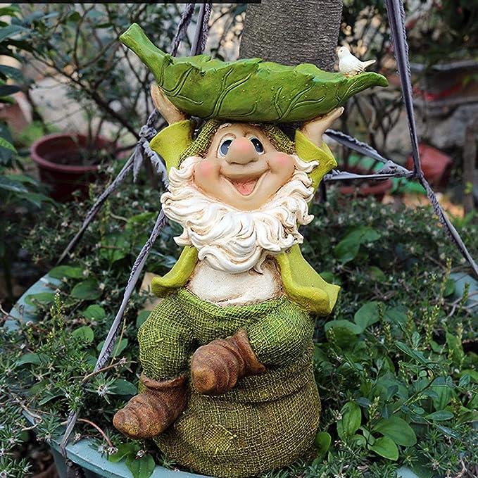 GLOOPE Estatua de Enano - Jardín al Aire Libre Terraza Decoración de Arte con césped - Cuento de Hadas Diversión Decoración de jardín Decoración Creativa (Color : B): Amazon.es: Hogar