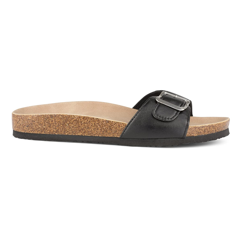 Twisted Womens Payton Buckle Strap Cork Slide Sandal