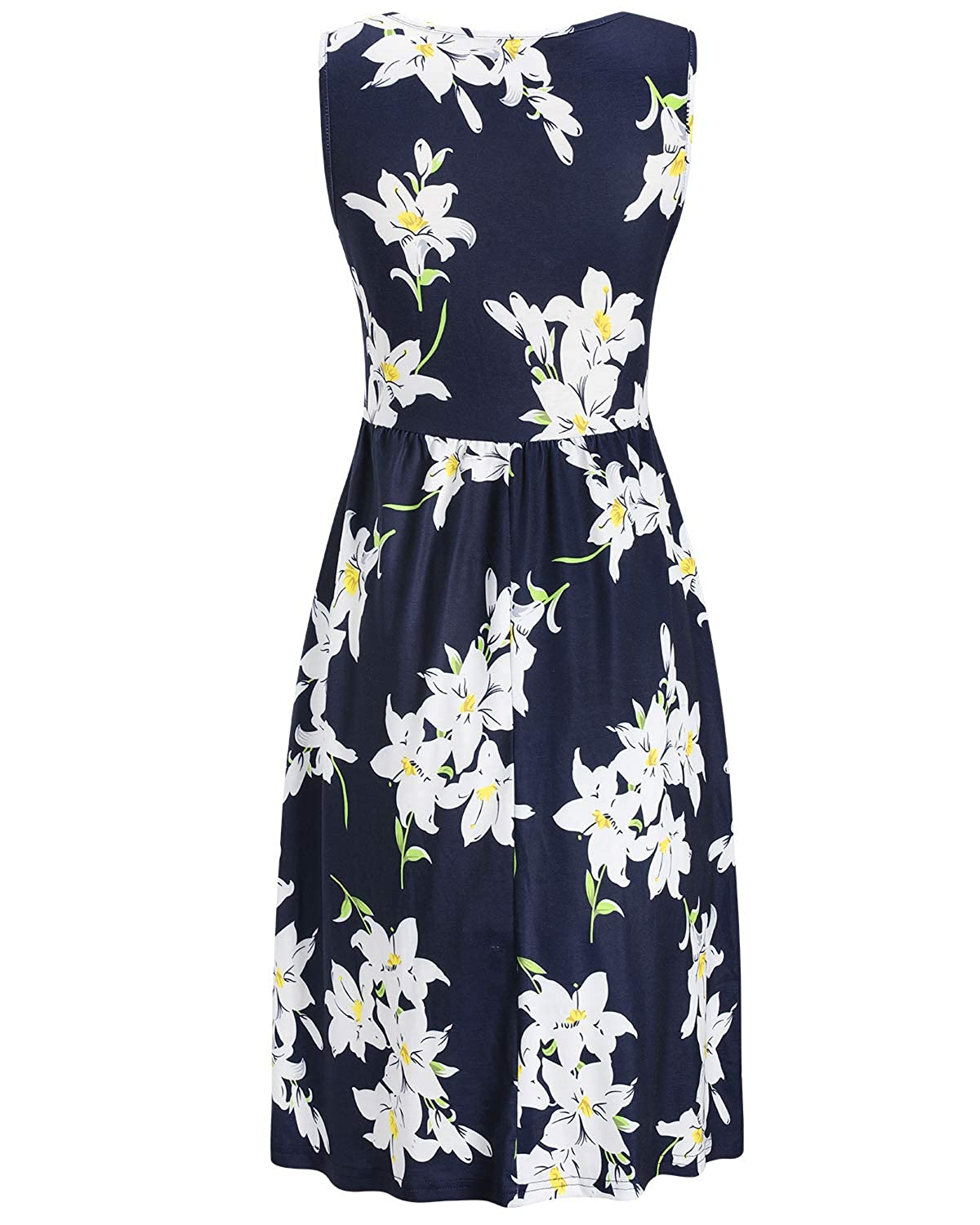 OUGES Womens Sleeveless Summer Floral Maternity Dresses Nursing Breastfeeding Clothes