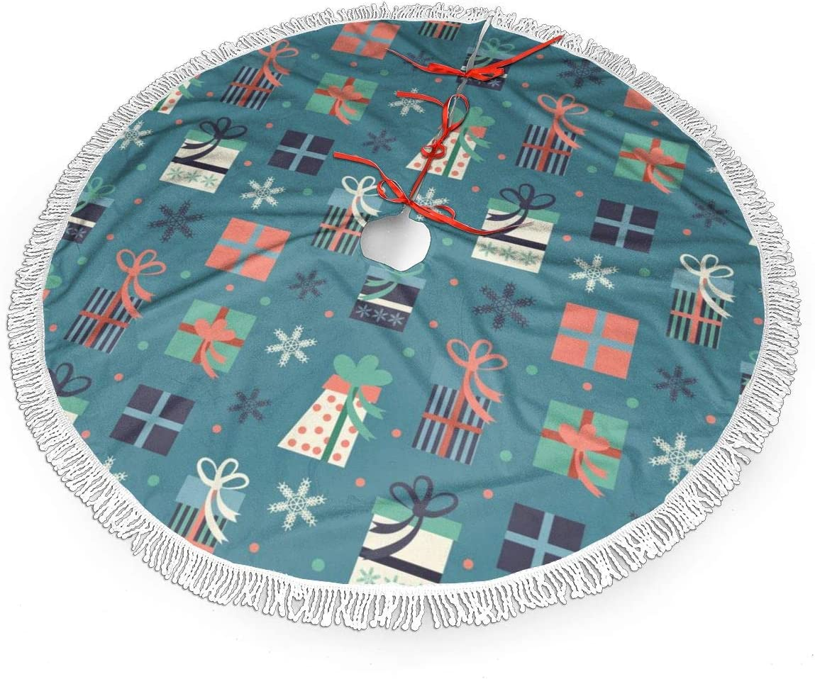 Christmas Tree Skirt 48 inches Fringed lace Snowflake Pattern Xmas Tree Skirt for Holiday Decorations