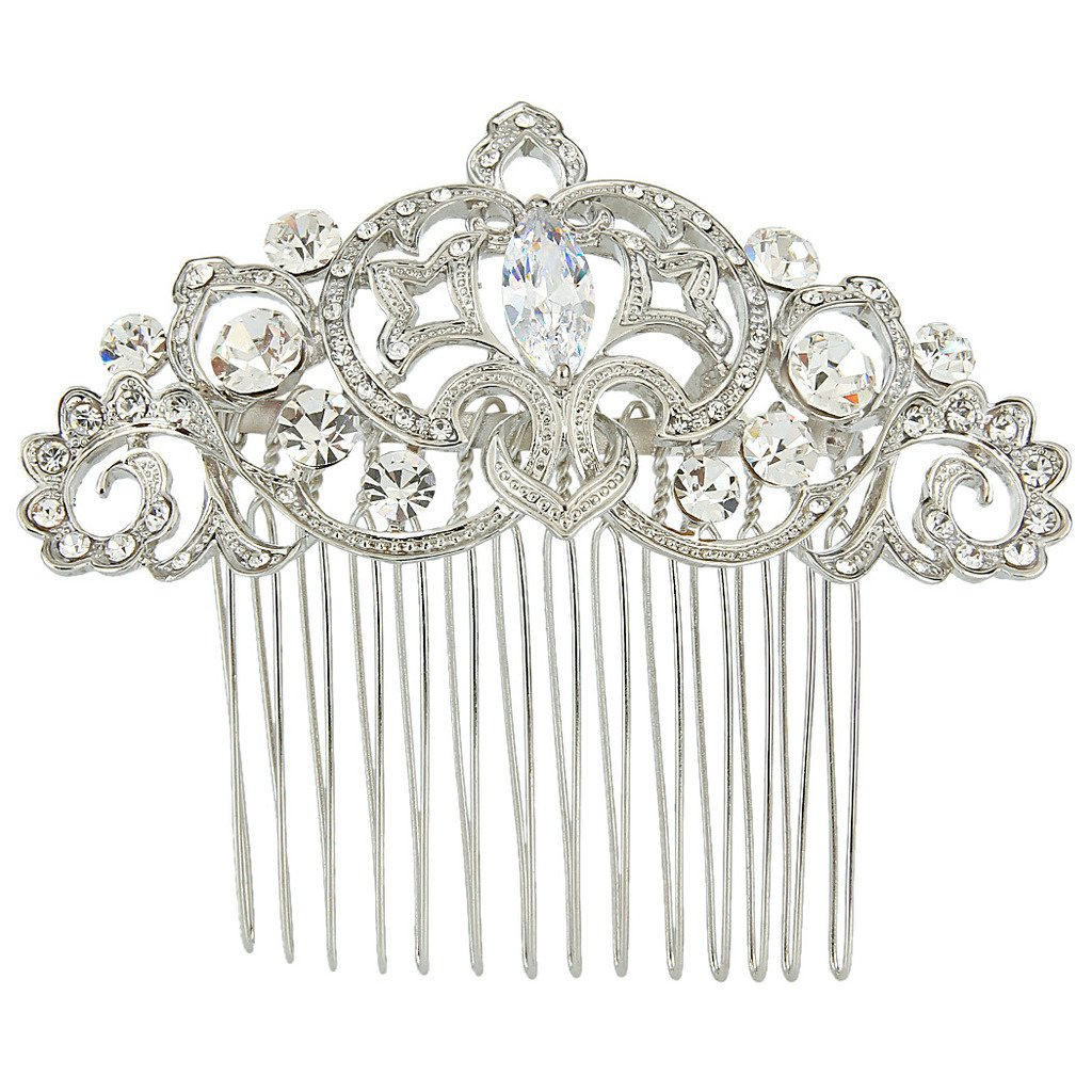 Ever Faith Silver-Tone Cubic Zirconia Crystal Wedding Fleur-de-lis Flower Vine Hair Comb Clear N05408-1