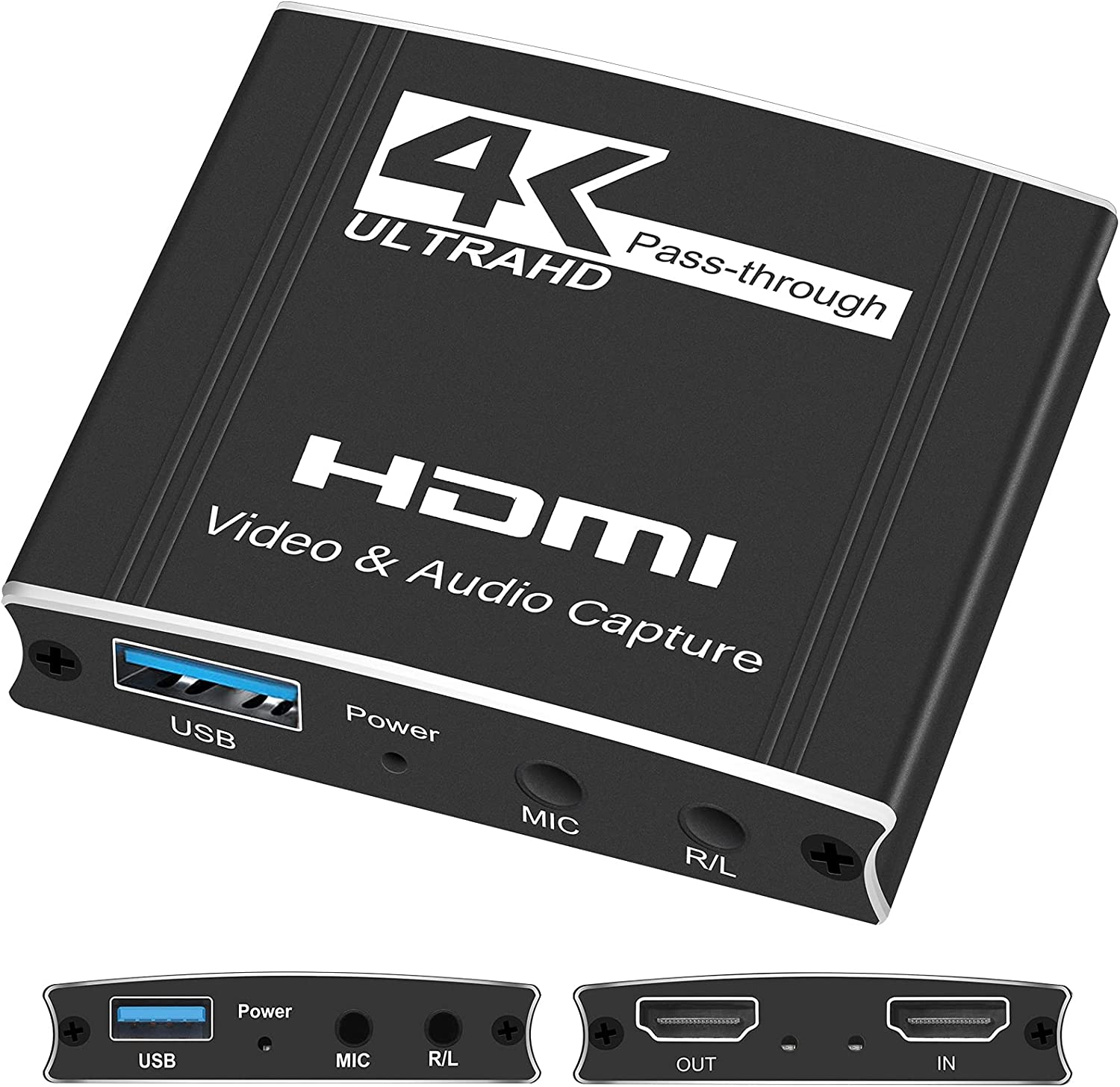TKHIN Capture Card, Audio Video Capture Card with Mic Jack 4K HDMI Pass Through, 1080p 60fps Video Recorder for Gaming/Live Streaming, Works for Nintendo Switch/PS4/Xbox/OBS/Camera/PC