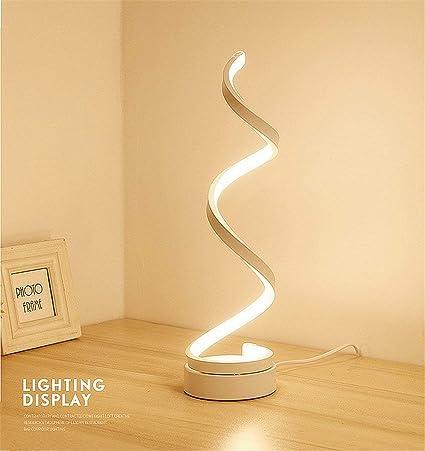 ELINKUME espiral LED lámpara de mesa, curvo LED lámpara de escritorio regulable, diseño minimalista moderno, 12W luz blanca cálida, Creative acrílico ...