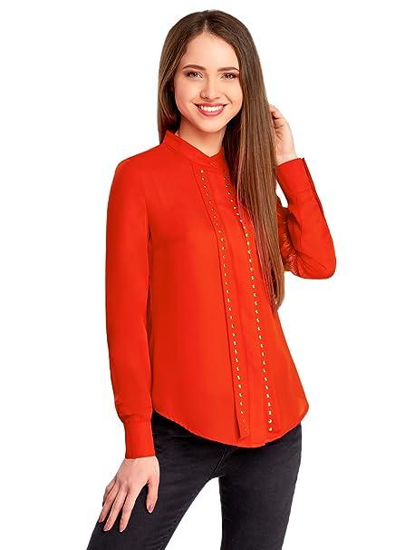 oodji Collection Mujer Blusa con Pedrería Metálica, Rojo, ES 38 / S