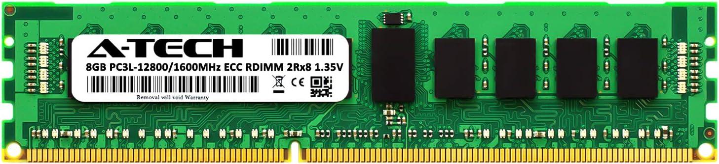 A-Tech 8GB for DELL PowerEdge T410 (1 x 8GB) PC3-12800 (DDR3-1600) ECC Registered RDIMM 240-Pin 2Rx8 1.35V Server Memory RAM