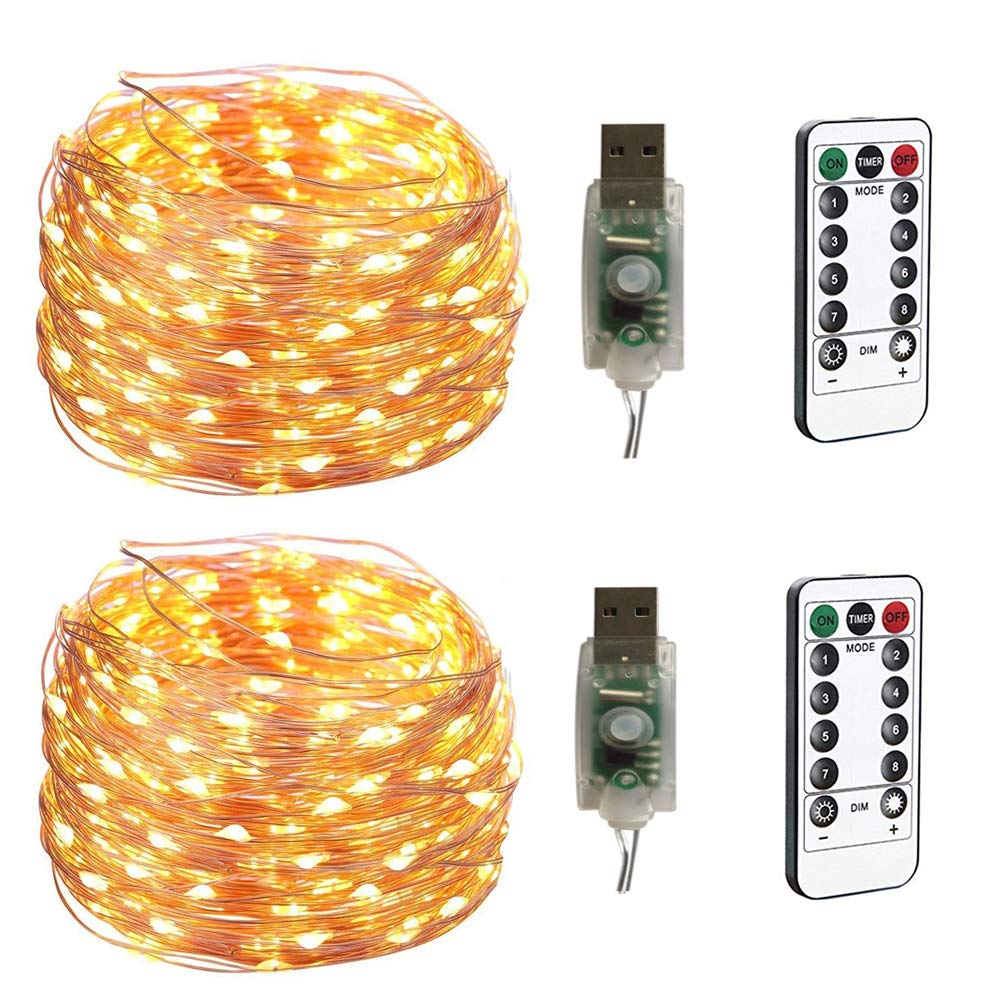 100LEDs Micro Fairy Lights 10M Copper Wire with USB Remote Control 8 Program and Timing Dimming LED Lights for Party, Christmas, Wedding, Lighting Decoration Pack of 2 (Warm White)