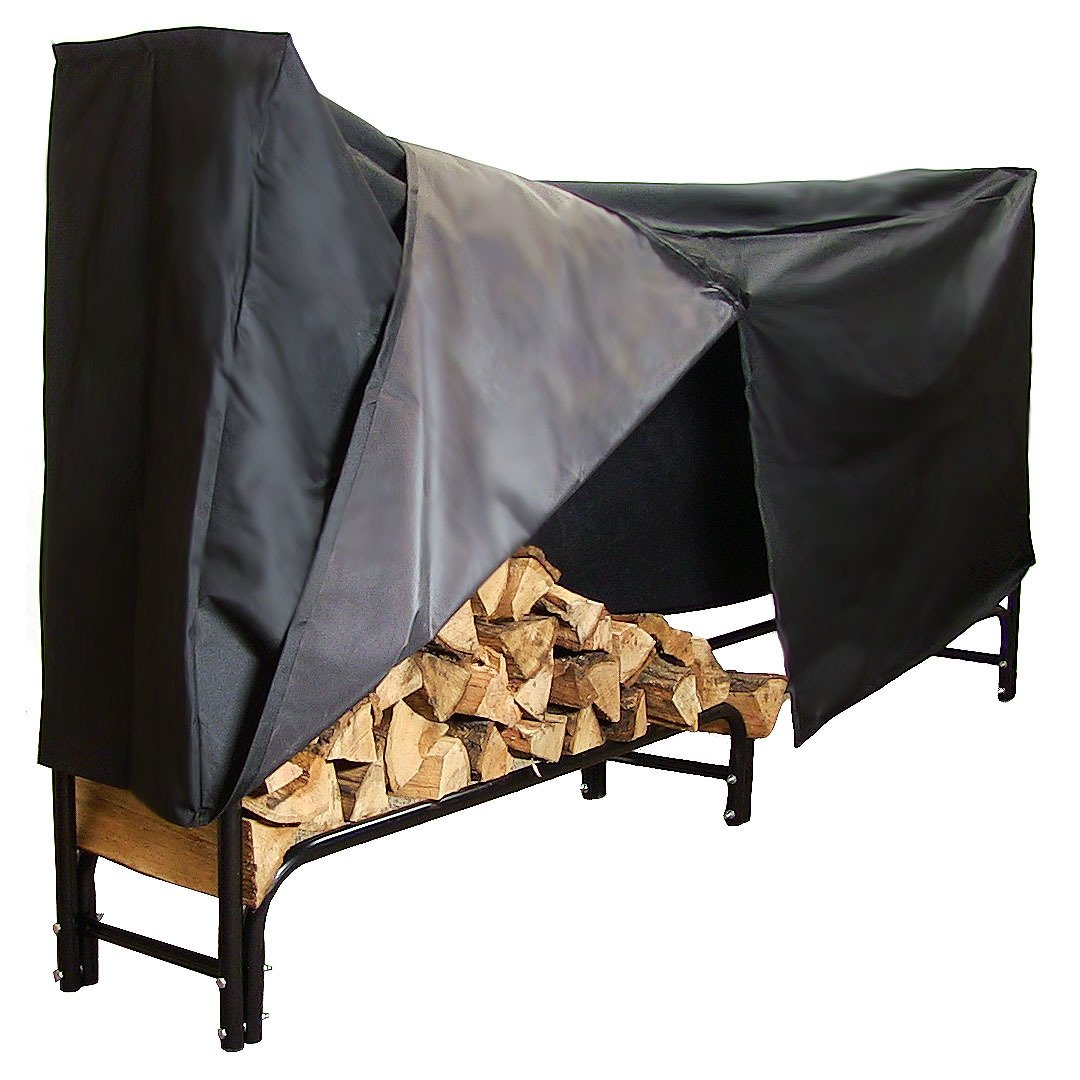 Sunnydaze 8-Foot Firewood Log Rack with Cover Combo, Outdoor Wood Storage Holder, Black by Sunnydaze Decor