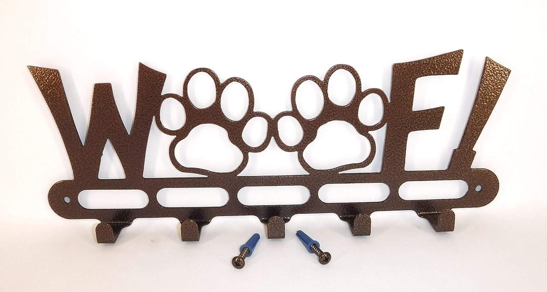 14.25 inch Wide Screws Included. Made in USA WOOF Dog Leash Holder Hook Hanger Gloss Black