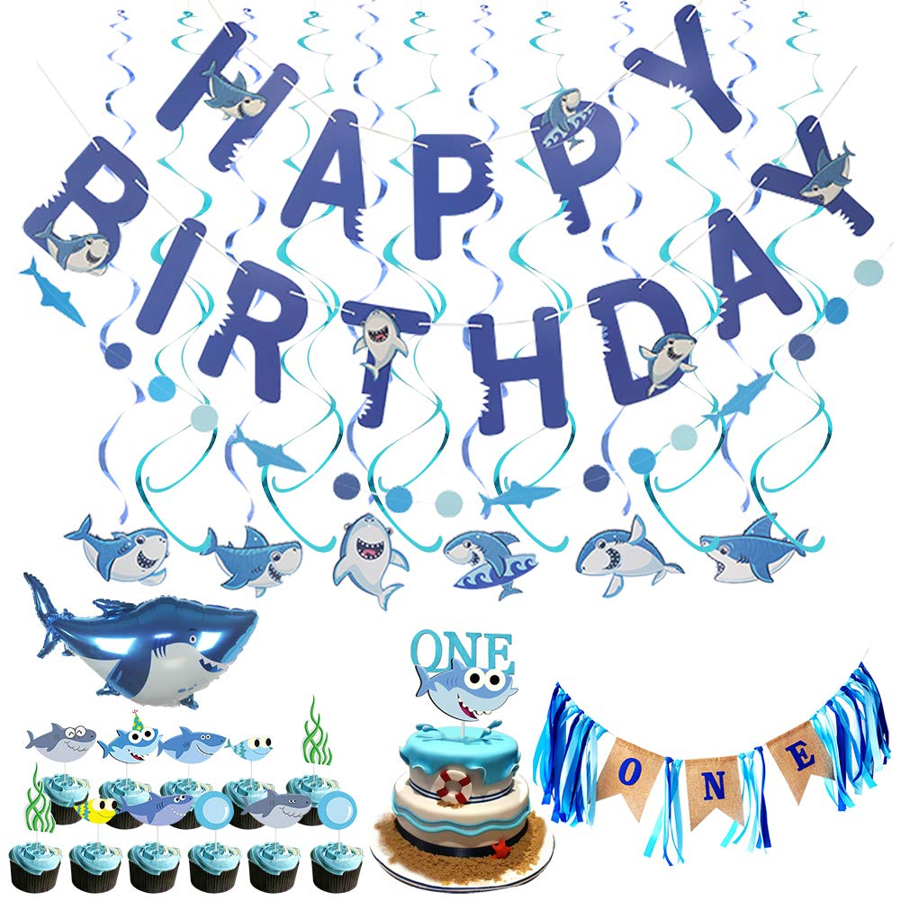 LOCCA Blue Baby Shark Party Supplies, 1st Birthday Boy Decorations Kit for Cake Smash Backdrop, Includes Shark Cake Topper, Happy Birthday Banner, Highchair Banner for Baby Boy's/Kid's First Birthday
