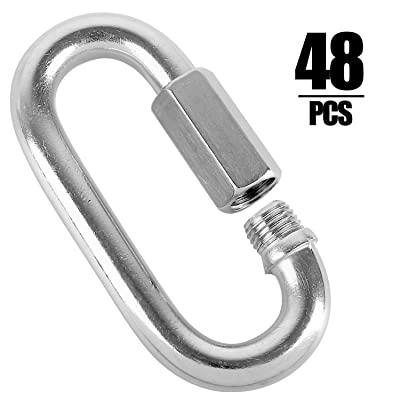 48 Packs Quick Link M4 4MM Stainless Steel Chain Connector by KINJOEK, Heavy Duty D Shape Locking Looks for Carabiner, Hammock, Camping and Outdoor Equipment, Max. Load 500 Lb: Industrial & Scientific