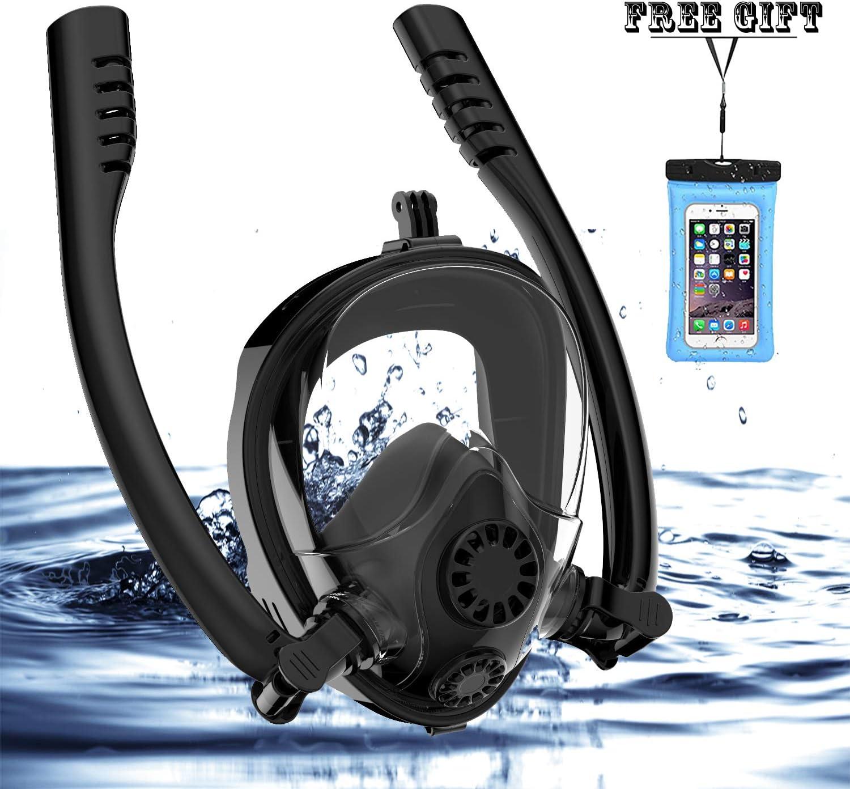 Anti-Fog Full Face Snorkel mask Diving Scuba Swimming Set Breath Pipe Adult Kids