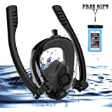 Full Face Snorkel Mask, HJKB K2 Backstroke Swimming Breathing Snorkeling Mask with Double Tubes and