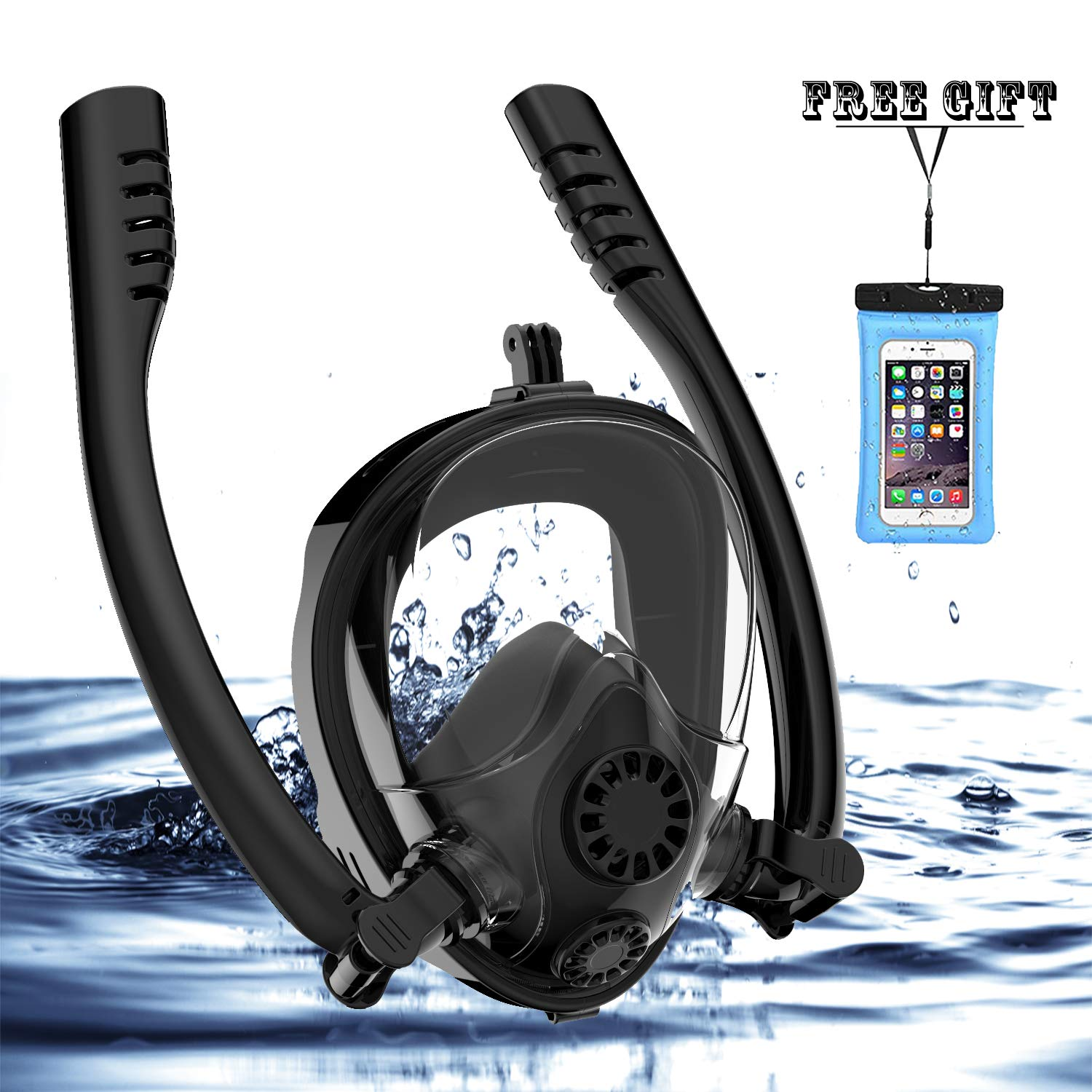 Full Face Snorkel Mask, HJKB K2 Backstroke Swiming Snorkeling Mask with Double Tubes and 180° Panoramic Viewing, Zero Fog and Anti Leak Guarantee with Camera Mount for Adult (Black, Large) by Jahuite (Image #1)
