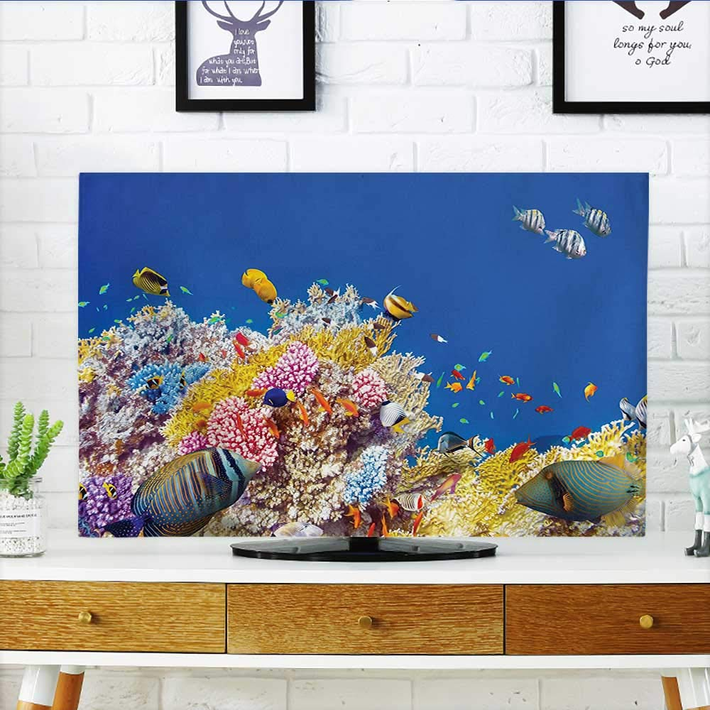Leighhome Cover for Wall Mount tv Underwater with s and Tropical Diving Travel Destination Blue Yellow Cover Mount tv W19 x H30 INCH/TV 32''