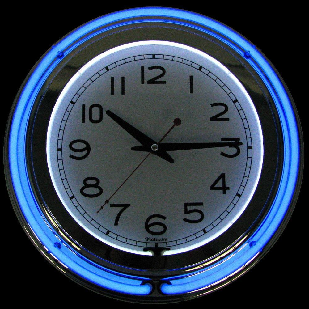 Amazoncom Trademark Gameroom Blue Chrome Double Ring Neon Clock