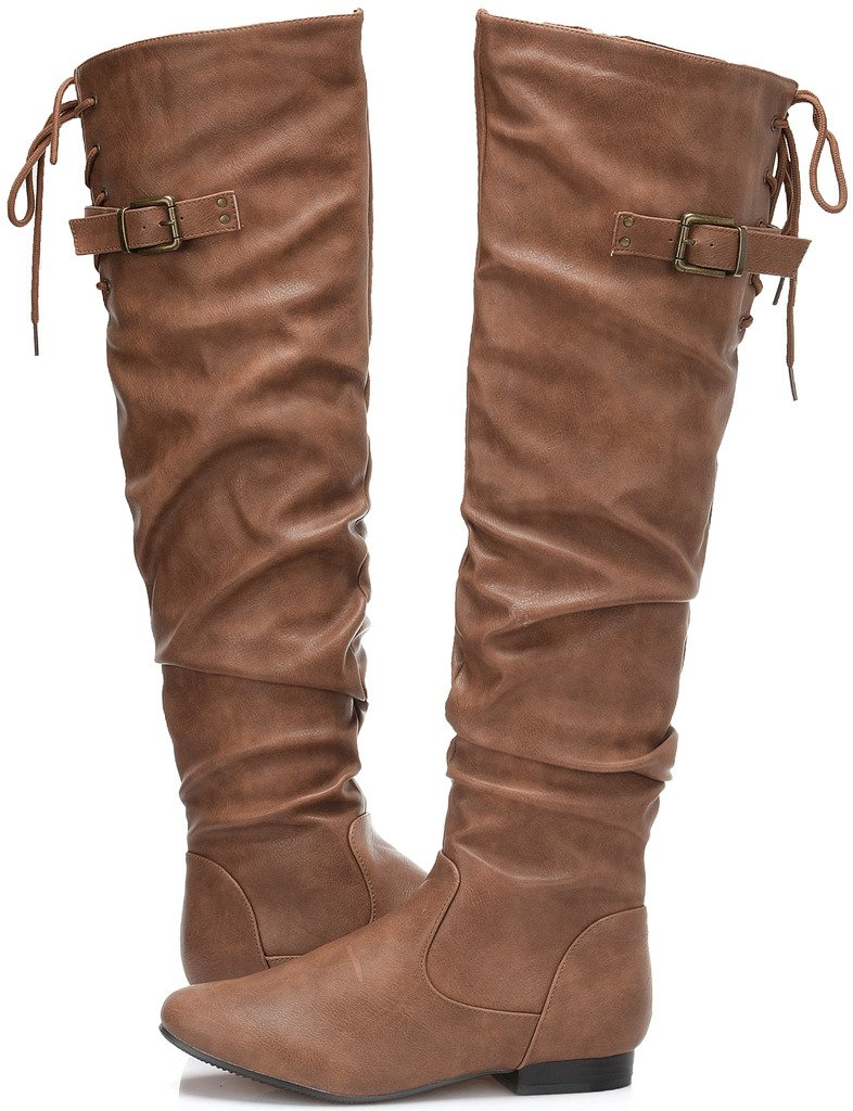 DREAM PAIRS Women's Colby Camel Pu Over The Knee Pull On Boots - 8.5 M US by DREAM PAIRS (Image #2)