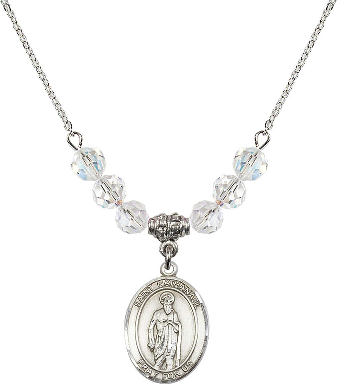 Bonyak Jewelry 18 Inch Rhodium Plated Necklace w// 6mm White April Birth Month Stone Beads and Saint Nathanael Charm