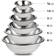 Stainless Steel Mixing Bowls Set of 6 for Cooking, Baking, Meal Prep, Serving, Nesting Bowls, Salads 3/4 – 1.5 – 3 – 4 – 5 – 8 Quarts