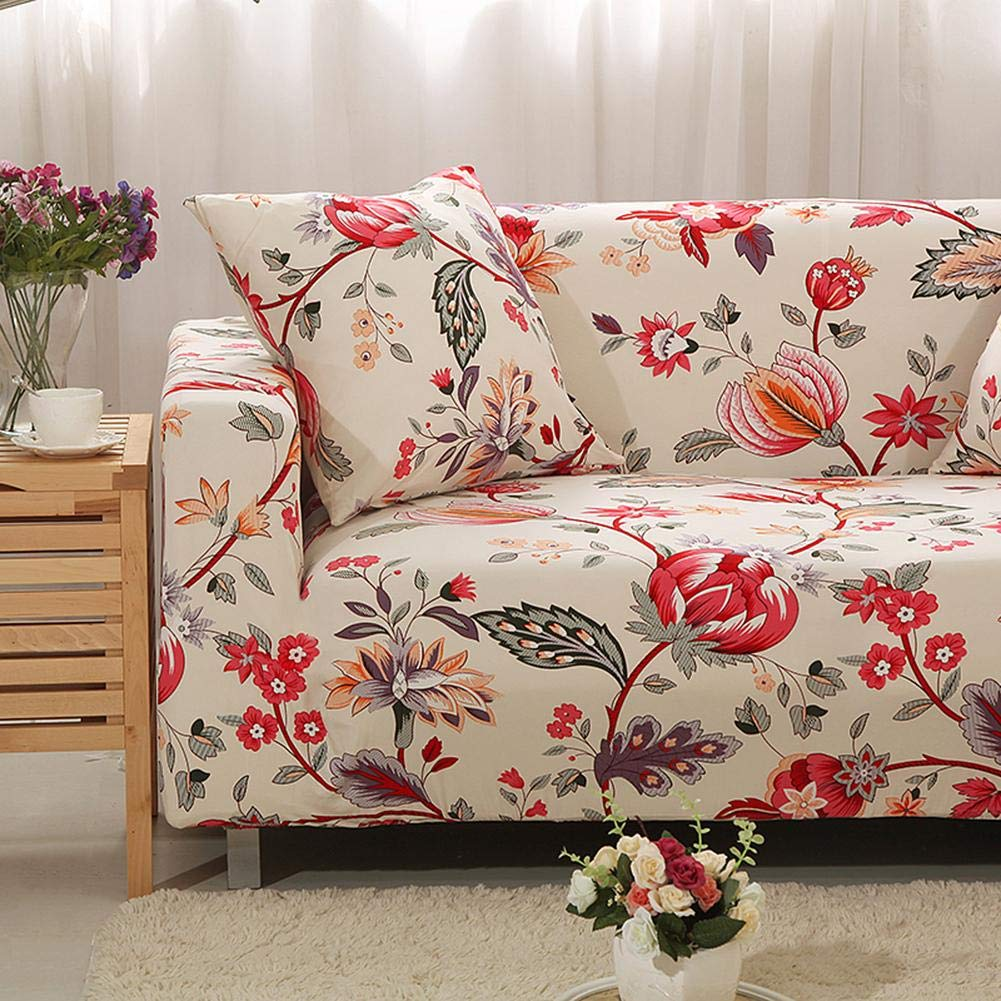 Childplaymate All-Inclusive Elastic Sofa Couch Cover Flowers Stretch Tight Wrap Slipcover 1 Seater