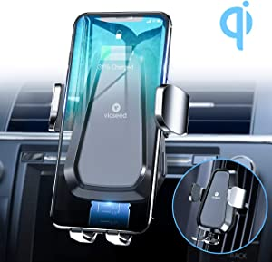 VICSEED Wireless Car Charger Mount, 2019 Newest Fast Charging Auto-Clamping Car Phone Holder CD Slot & Air Vent Wireless Car Charger for iPhone 11 Pro Max Xs Xr 8 Plus Samsung Galaxy Note 10 10+ S9 S8