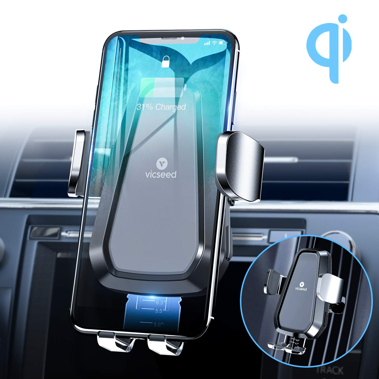 VICSEED Wireless Car Charger Mount, 2019 Newest Auto-Clamping Car Phone Holder, CD Slot & Air Vent Qi Fast Wireless Car Charger for iPhone 11 Pro Xs Max Xs Xr 8 8 Plus Samsung Galaxy Note 10 S9 S8 by VICSEED
