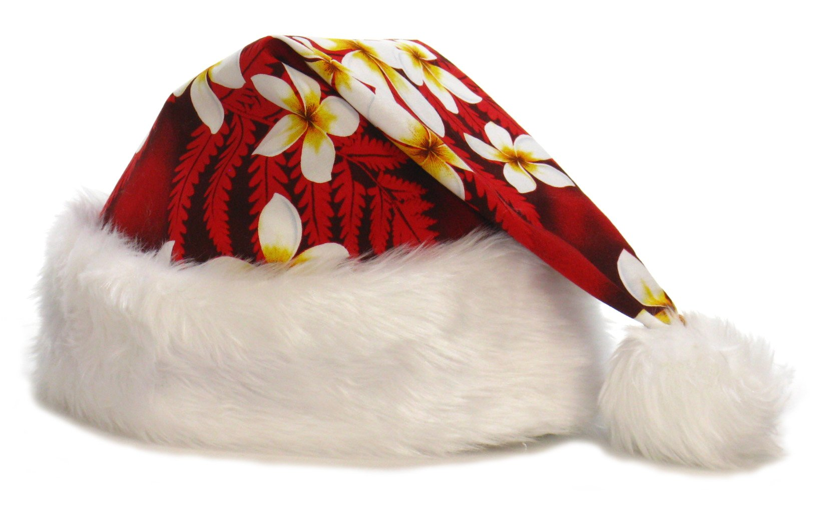 Hawaiian Style Tropical Santa Claus Hat - Adult Size - Red