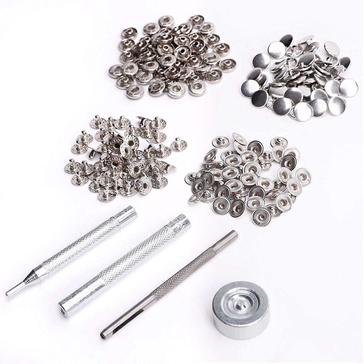 Metal Poppers Snap Clasp Fasteners Press Stud Kit Leather Craft Jacket Button