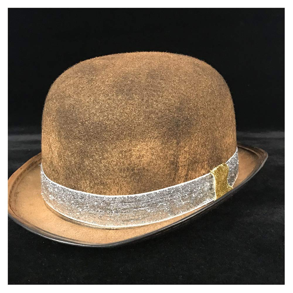 LL Retro Women Men Unisex Steampunk Bowler Hat with Steam Punk Glasses Topper Top Hats Dome Billycock Groom Hat (Color : Gold SZ, Size : 57-58CM)