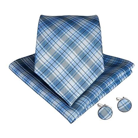 KYDCB Clásico Azul Blanco a Cuadros de los Hombres Corbata pañuelo ...