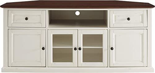 Crosley Furniture Shelby 60 Corner TV Stand, White with Mahogany Top
