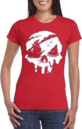 Red Female Gildan Short Sleeve T-Shirt - Sea of Thieves design