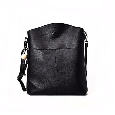 9d4de570e HCFKJ Women Ladies GIrls Bag Sets 3PCS Large Capacity Black Shoulder School  Bag Messenger Mobile Handbags