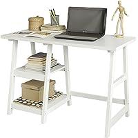 SoBuy® FWT16-W Bureau Informatique Plan de Travail Table Secrétaire Table pour Ordinateur avec 2 Étagères - Blanc