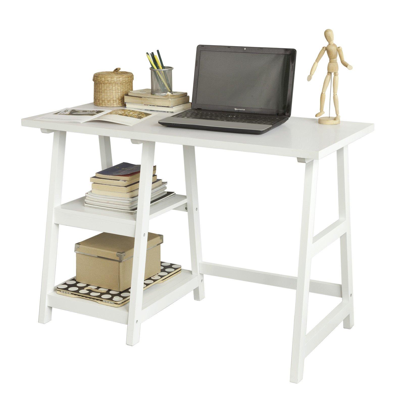 SoBuy® Mesa de Escritorio, Mesa de Ordenador con 2 estantes, Color Blanco,