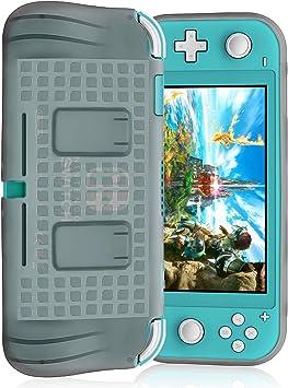 FYOUNG Funda de Protección para Nintendo Switch Lite 2019 con 2 Cartuchos de Juegos, Carcasa Protectora de TPU Suave con Agarres de Mano Integrados para Switch Lite Consola, Gris: Amazon.es: Electrónica