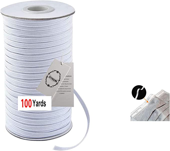 100 Yards Elastic Mask Strap String 1//8 inch Soft Ear Tie Rope Handmade DIY Craft How to Make String for Mask Sewing Stretchy Trim White Round Thin Cord Securing Holder Earloop Band